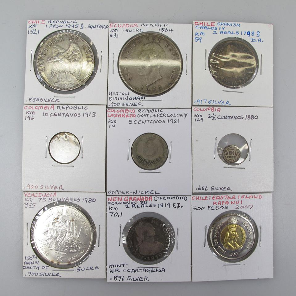 Quantity Of Coins From Chile, Ecuador, Columbia, Venezuela, Paraguay And Guyana
