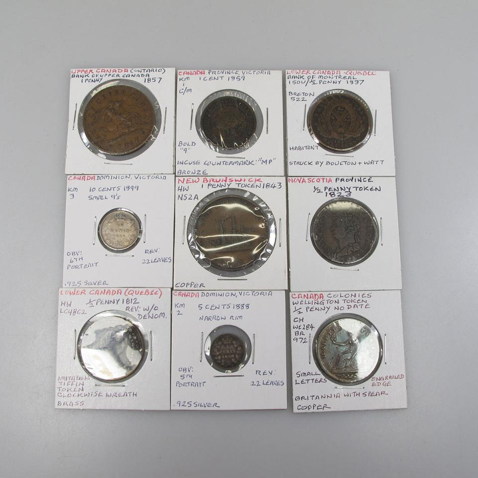 Small Quantity Of 19th Century Canadian Bank Tokens,