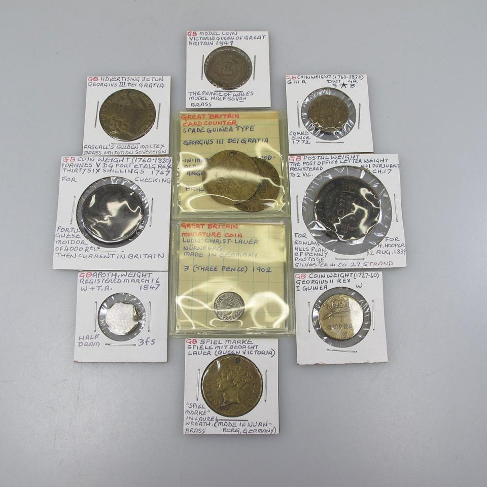 Quantity Of British Tokens, Card Counters, Mini Coins, Apothecary And Postal Weights, Etc