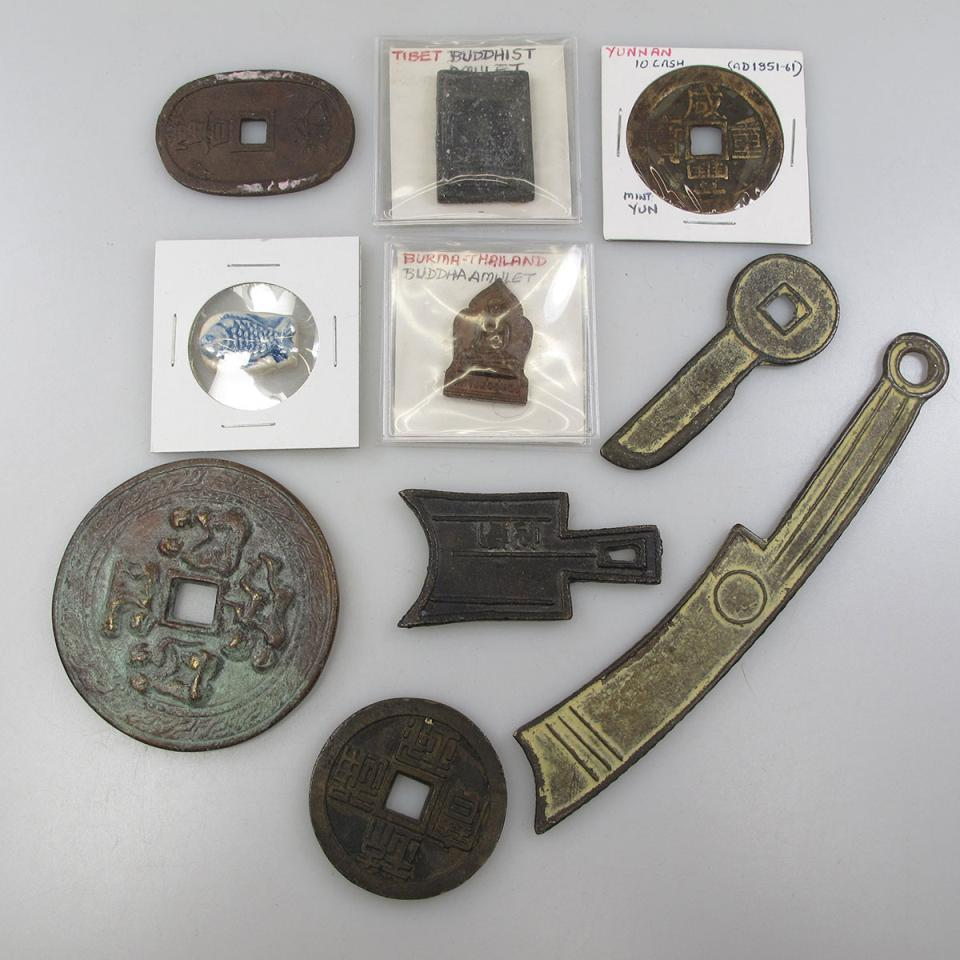 Quantity Of Chinese Cash Coin, Chinese Bronze Money, Nepalese And Tibetan Amulets And Thai Ceramic Coins