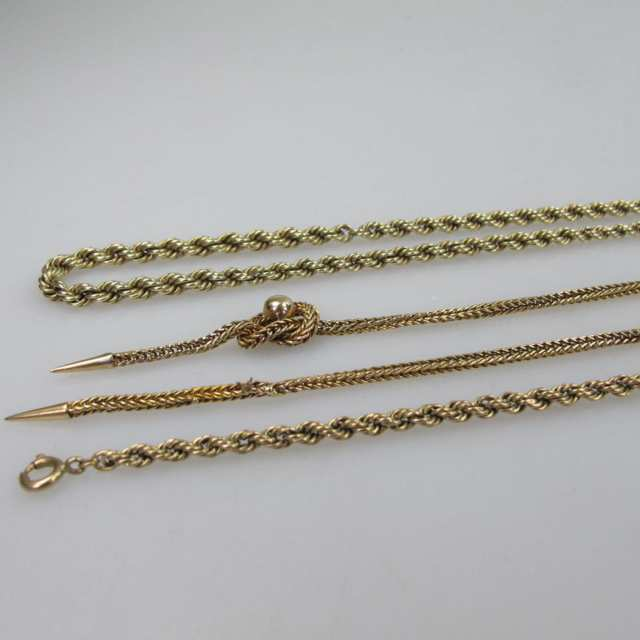 1 x 8k, 1 x 10k & 2 x 14k Yellow Gold Rope Chains