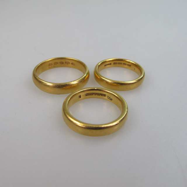 3 x English 22k Yellow Gold Bands
