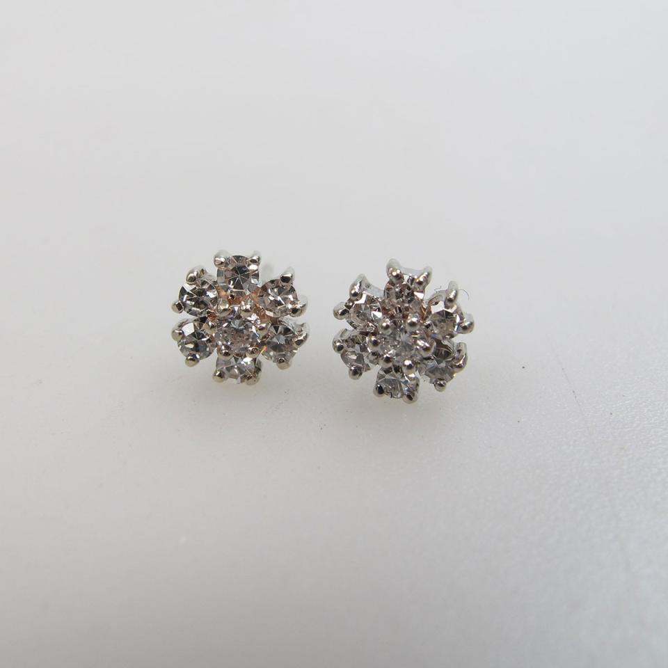 Pair Of 14k White Gold Earrings