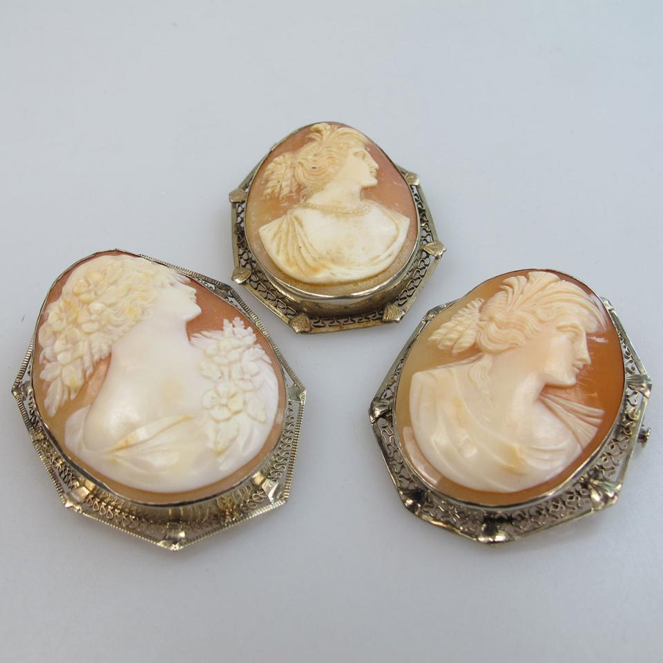 3 Oval Carved Shell Cameos