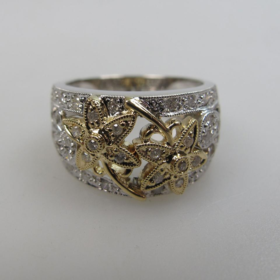 14k Yellow And White Gold Filigree Ring