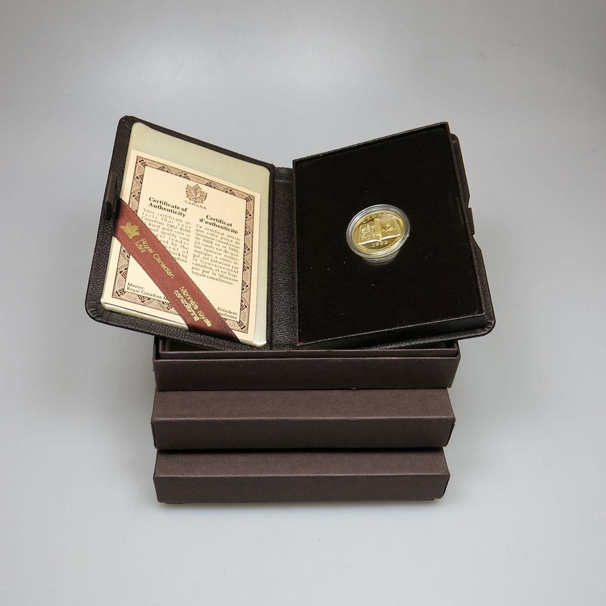 Three 1982 Canadian $100 Gold Coins