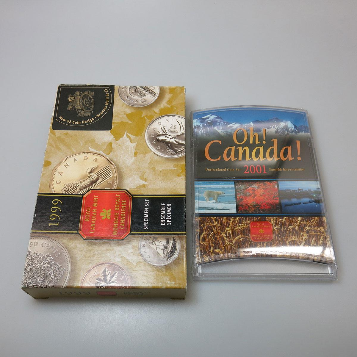 48 Various Canadian Proof And Uncirculated Coin Sets, 1998 to 2004