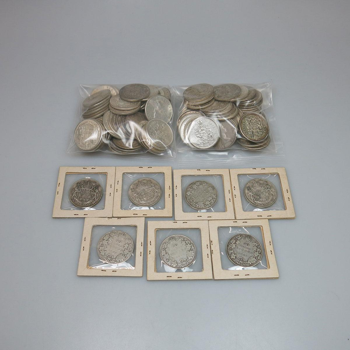 120 Canadian Silver Fifty Cent Coins