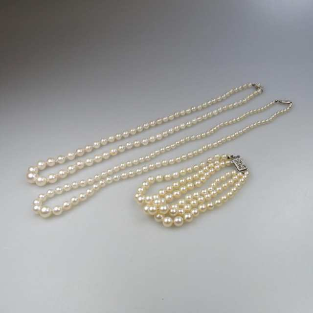 2 Single Strand Graduated Cultured Pearl Necklaces