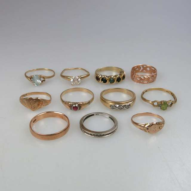 2 x 14k & 9 x 10k Various Gold Rings