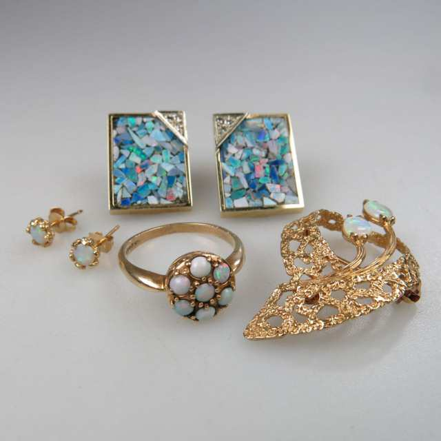 Two Pairs Of 14k Yellow Gold Earrings, a 14k Yellow Gold Brooch, And a 10k Yellow Gold Ring