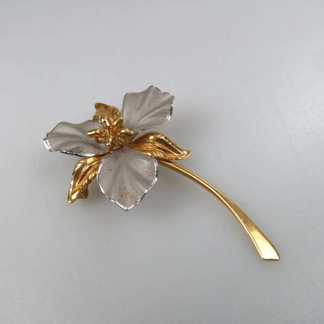 Bond Boyd 14k Yellow Gold And Silver Floral Brooch