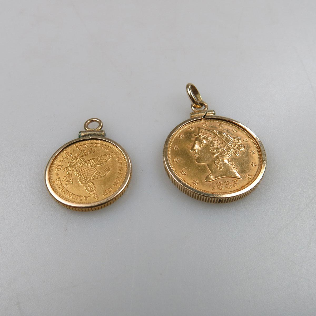American $5 Gold Coin (1885) & an American $2 1/2 Gold Coin (1889)