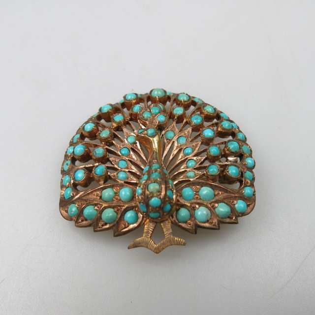 8k Yellow Gold Peacock Brooch/Pendant