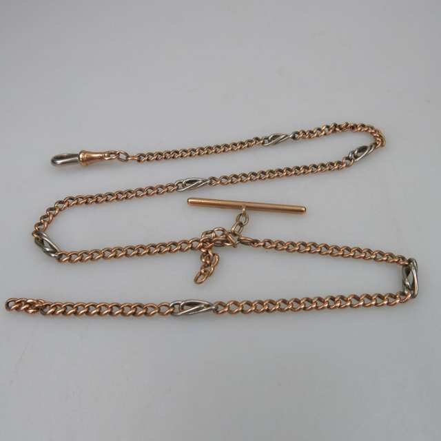 French 18k Yellow And White Gold Curb Link Watch Chain