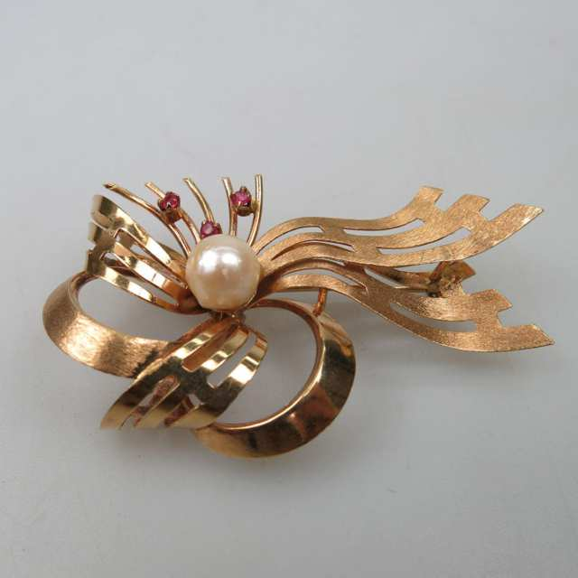 Italian 18k Rose Gold Bow Brooch