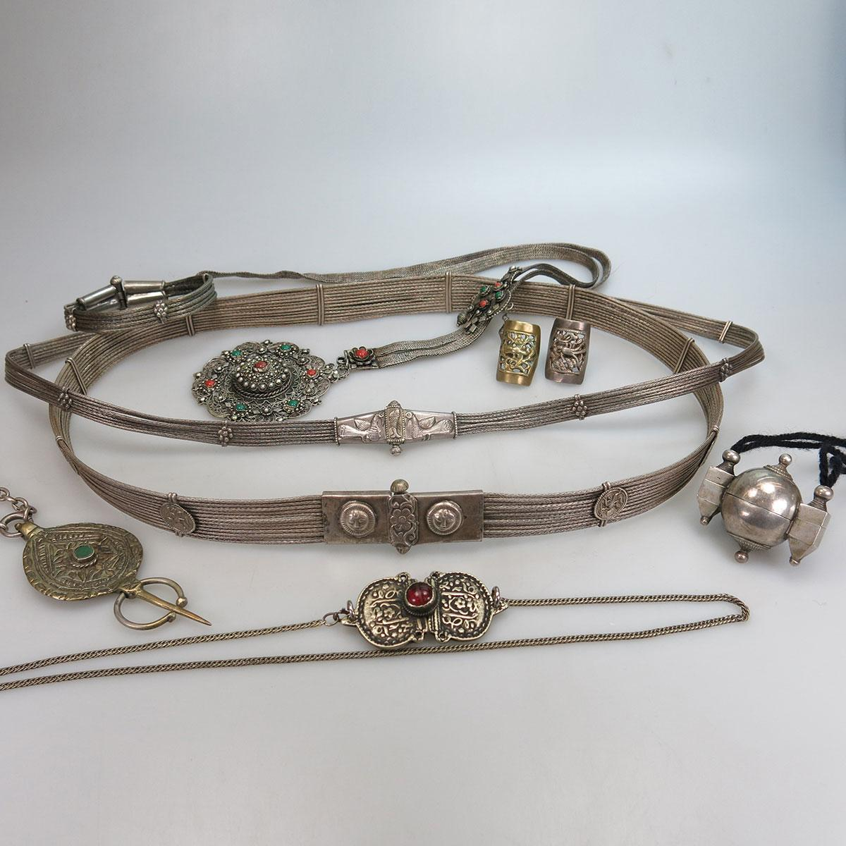 Quantity Of Eastern Silver And Silver-Plated Necklaces, Belts, Etc