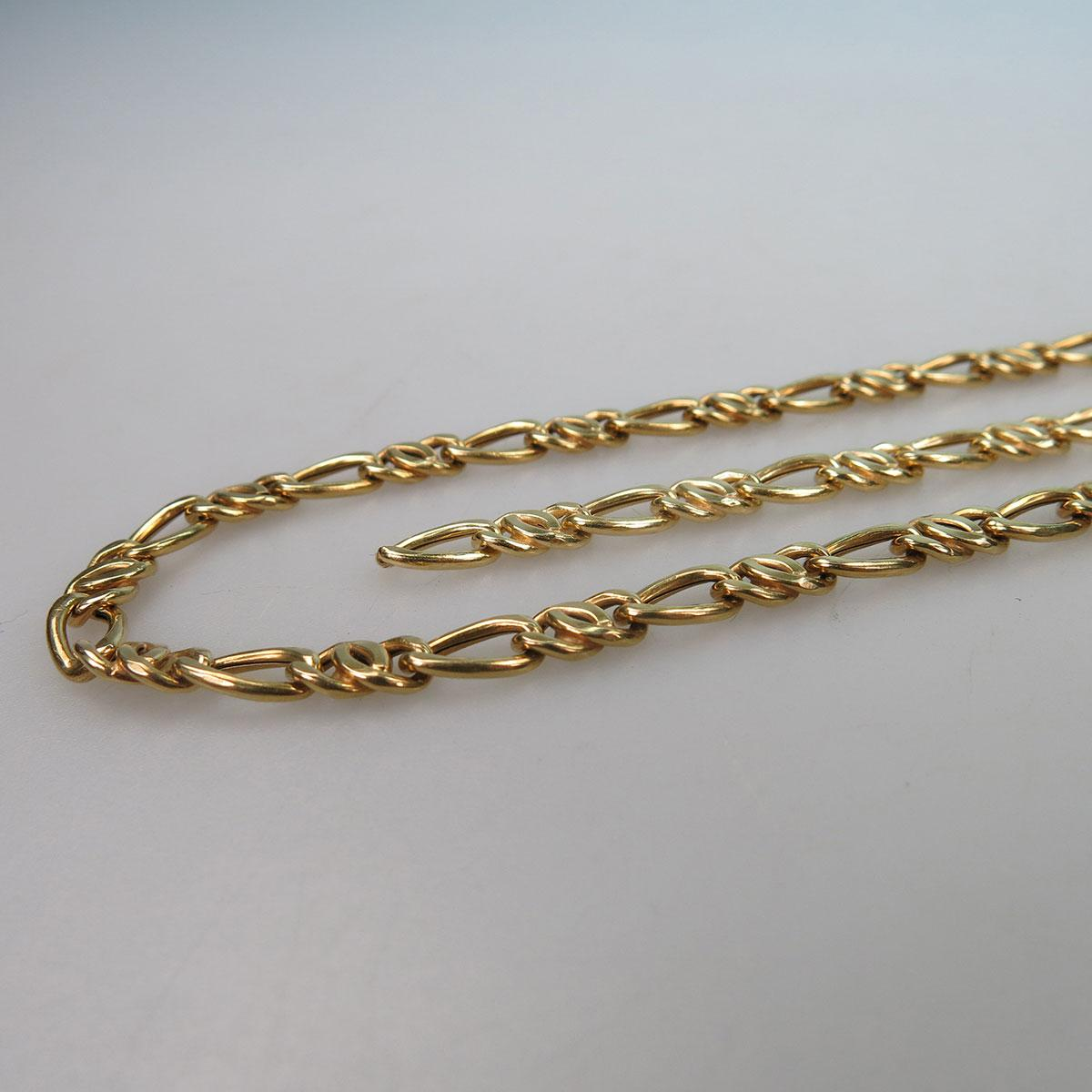 Italian 18k Yellow Gold Modified Curb Link Chain