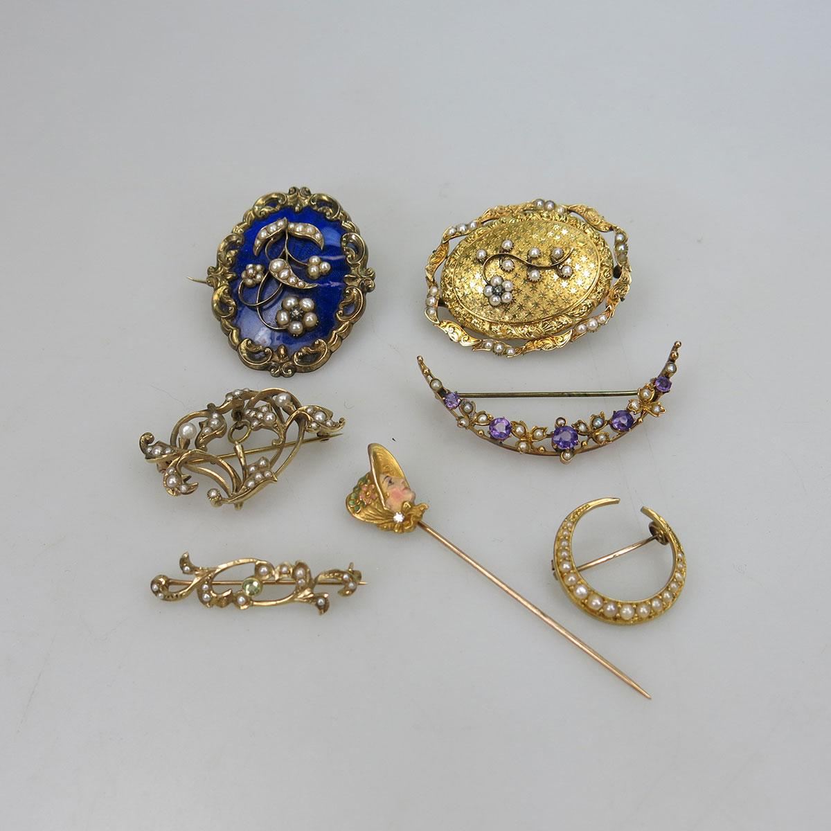 7 Various Gold And Gold-Filled Pins