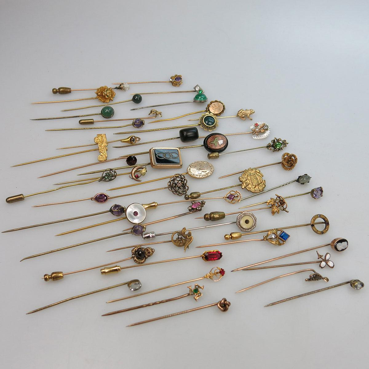 64 Various Gold-Filled And Silver Stickpins
