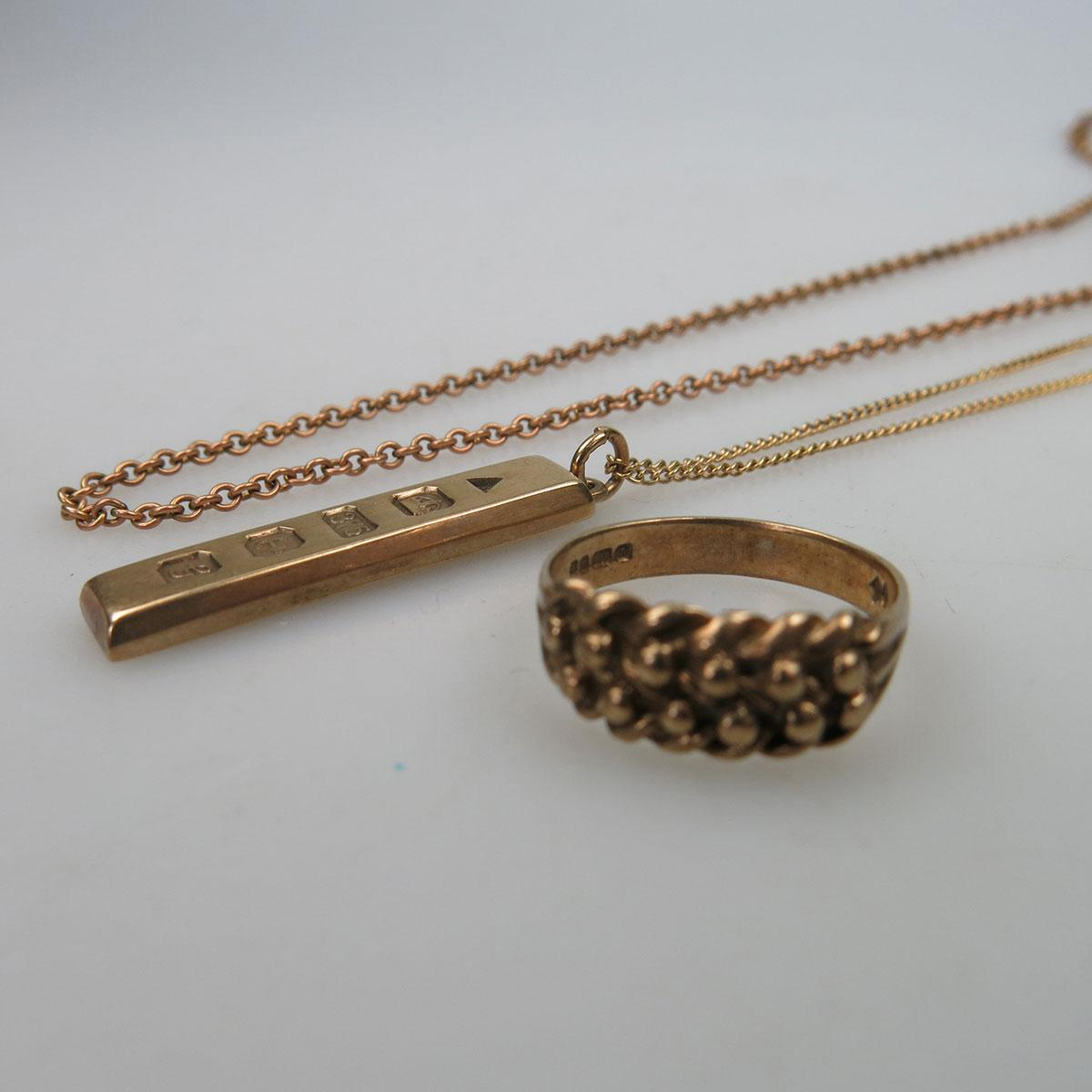 9k Gold Ring, Pendant And Two Chains