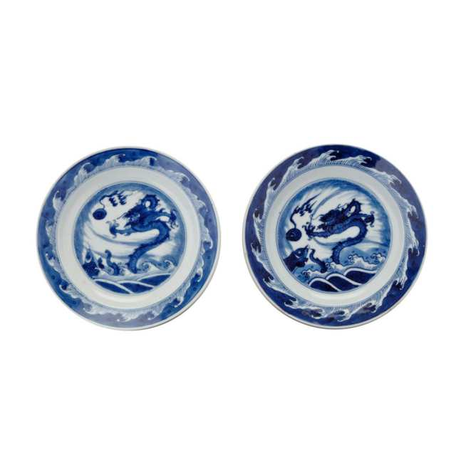 Pair Export Blue and White Dragon Dishes, Kangxi Period (1662-1722)