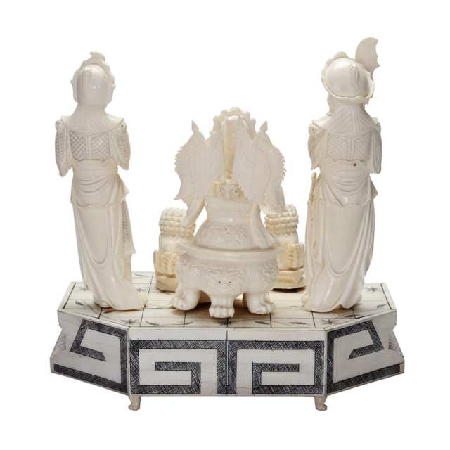 Large Ivory Figural 'Three Kingdoms' Group and Base, Circa 1940