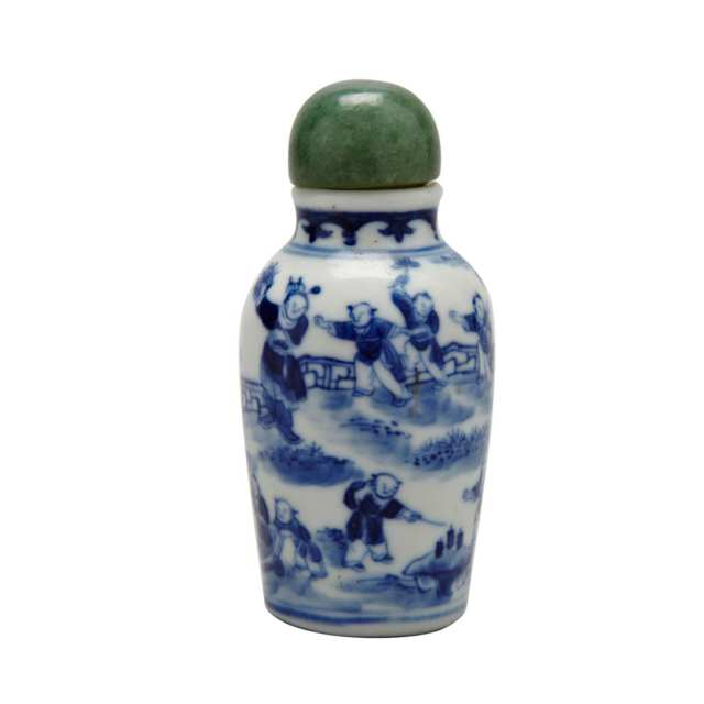 Blue and White 'Boys' Snuff Bottle, 19th Century