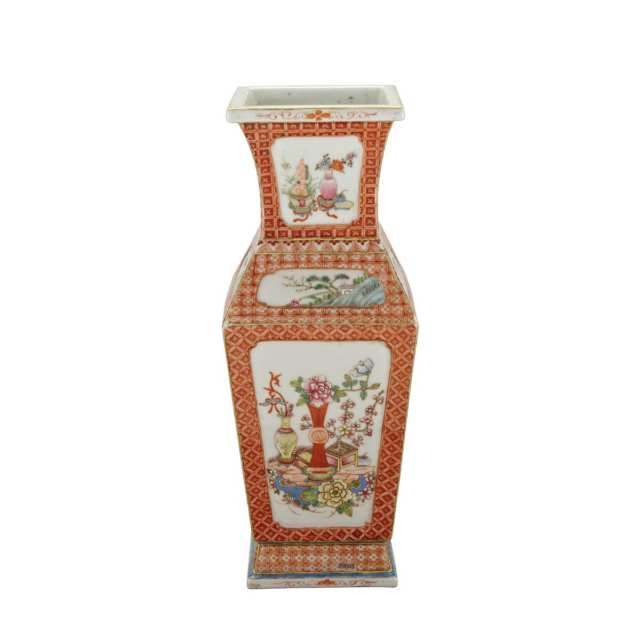 Famille Rose Faceted Vase, Yongzheng Mark, Republican Period