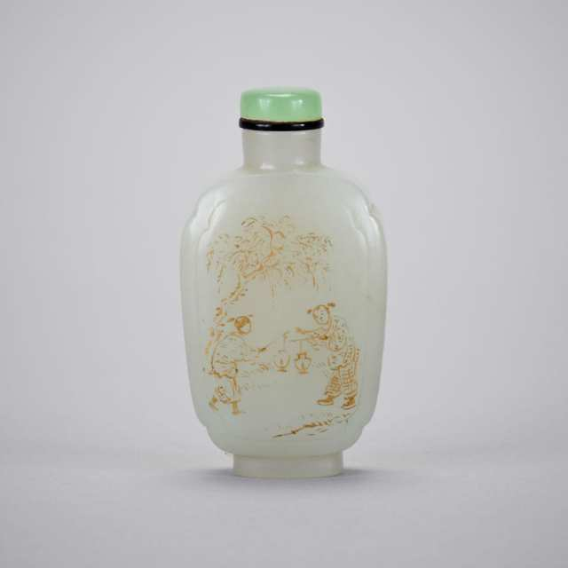 Pale Celadon and Gilt Painted Jade Snuff Bottle, 19th Century