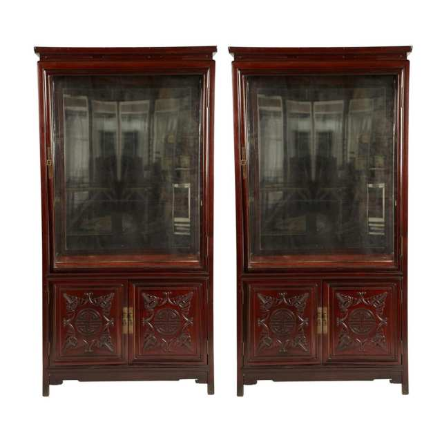 Pair of Hardwood Display Cabinets