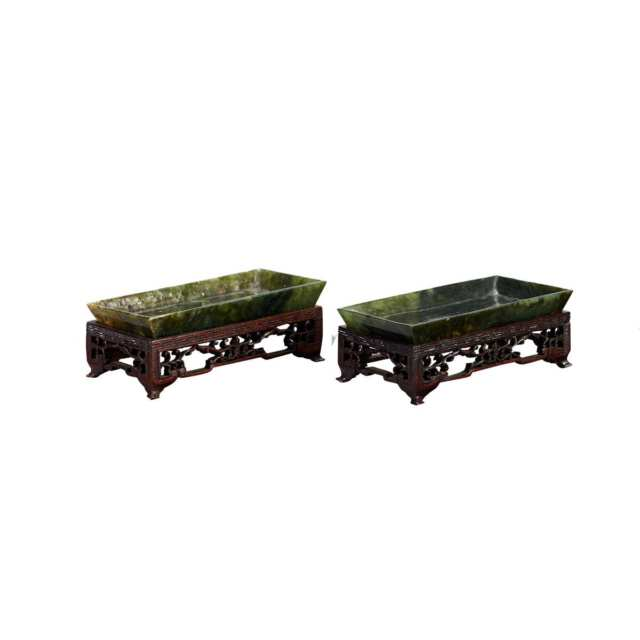 Pair of Spinach Green Jade Trays, 19th Century