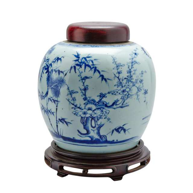 Unusual Export Blue and White 'Three Friends' Ginger Jar, Kangxi Period (1662-1722)