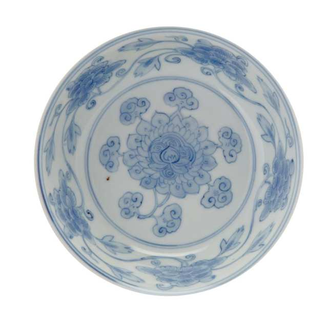Blue and White Shallow Bowl, Wanli Mark and Period (1573-1619)
