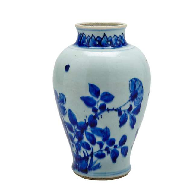 Blue and White Ovoid Jar, Transitional Period, 17th Century