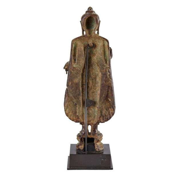 Bronze Standing Figure of Buddha, Northern India, Probably 14th to 16th Century