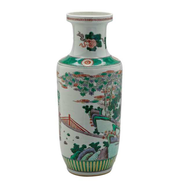 Famille Verte Rouleau Vase, Late Qing Dynasty