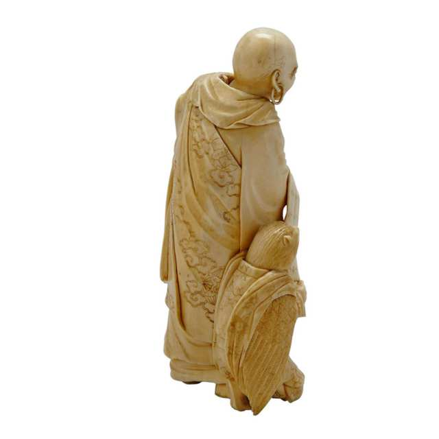 Finely Carved Ivory Okimono of a Monk, Meiji Period, 19th Century