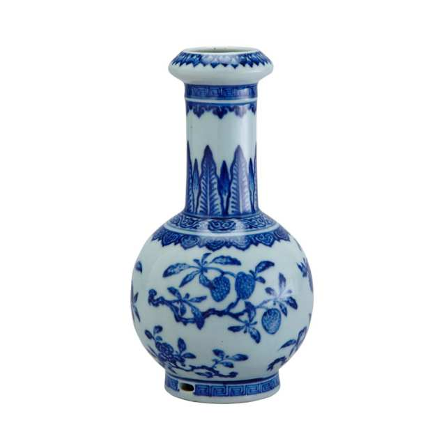 Unusual Blue and White Ming-Style Bottle Vase, 18th/19th Century