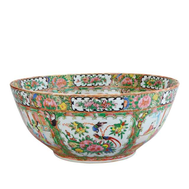 Large Export Canton Rose Punch Bowl, 19th Century