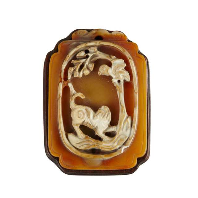 Two Colour Agate Pendant, Qing Dynasty
