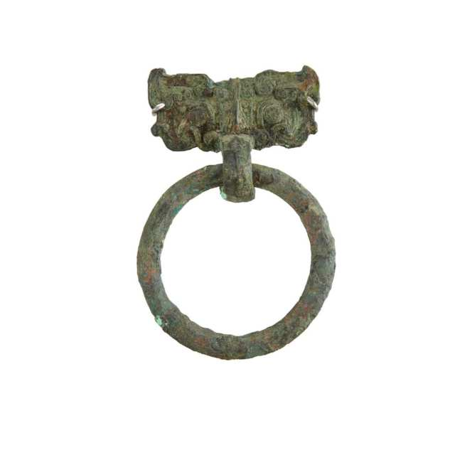 Pair of Bronze Taotie Mask Handles, Warring States Period, 5th to 3rd Century BC
