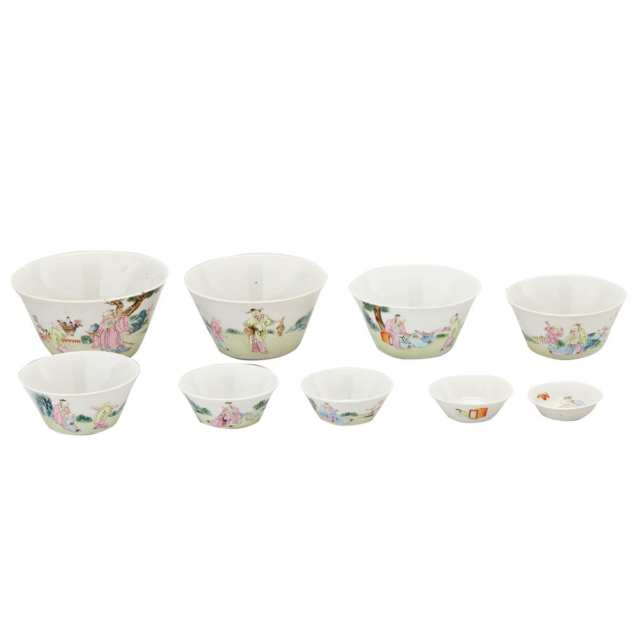 Set of Nine Famille Rose Nesting Wine Cups, 19th Century