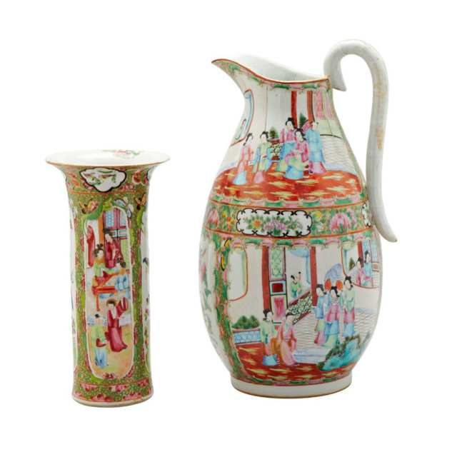 Large Export Canton Rose Water Pitcher, 19th Century