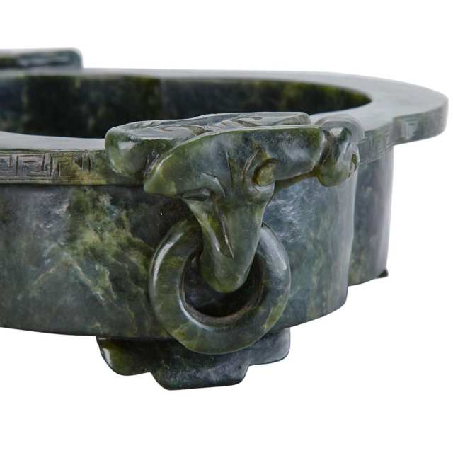 Large Spinach Green Jade Basin, 19th Century