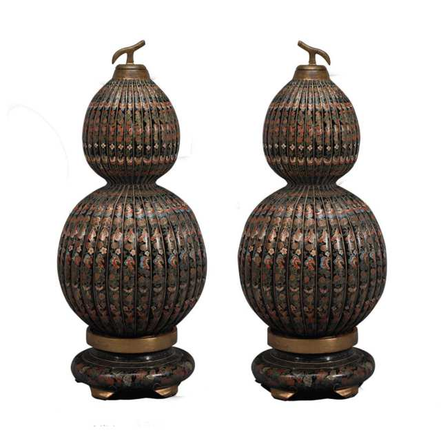 Pair of Large Lacquer and Gilt Painted Double Gourd Containers, Mid 20th Century