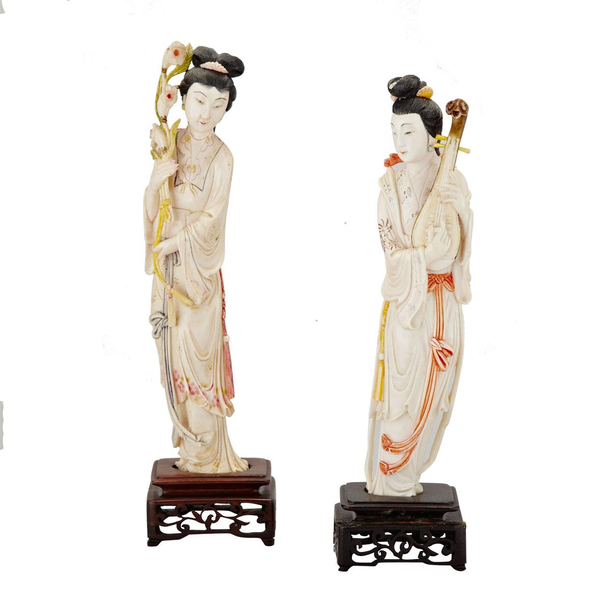 Pair of Ivory Carved Tinted Ladies