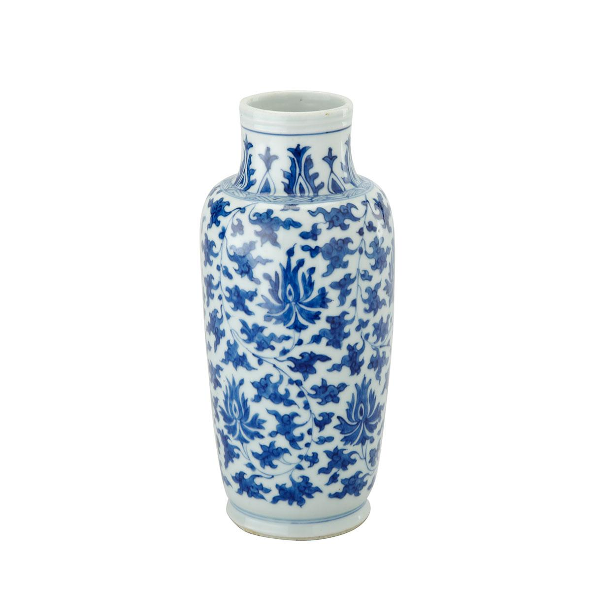 Blue and White Lotus Rouleau Vase, 18th Century