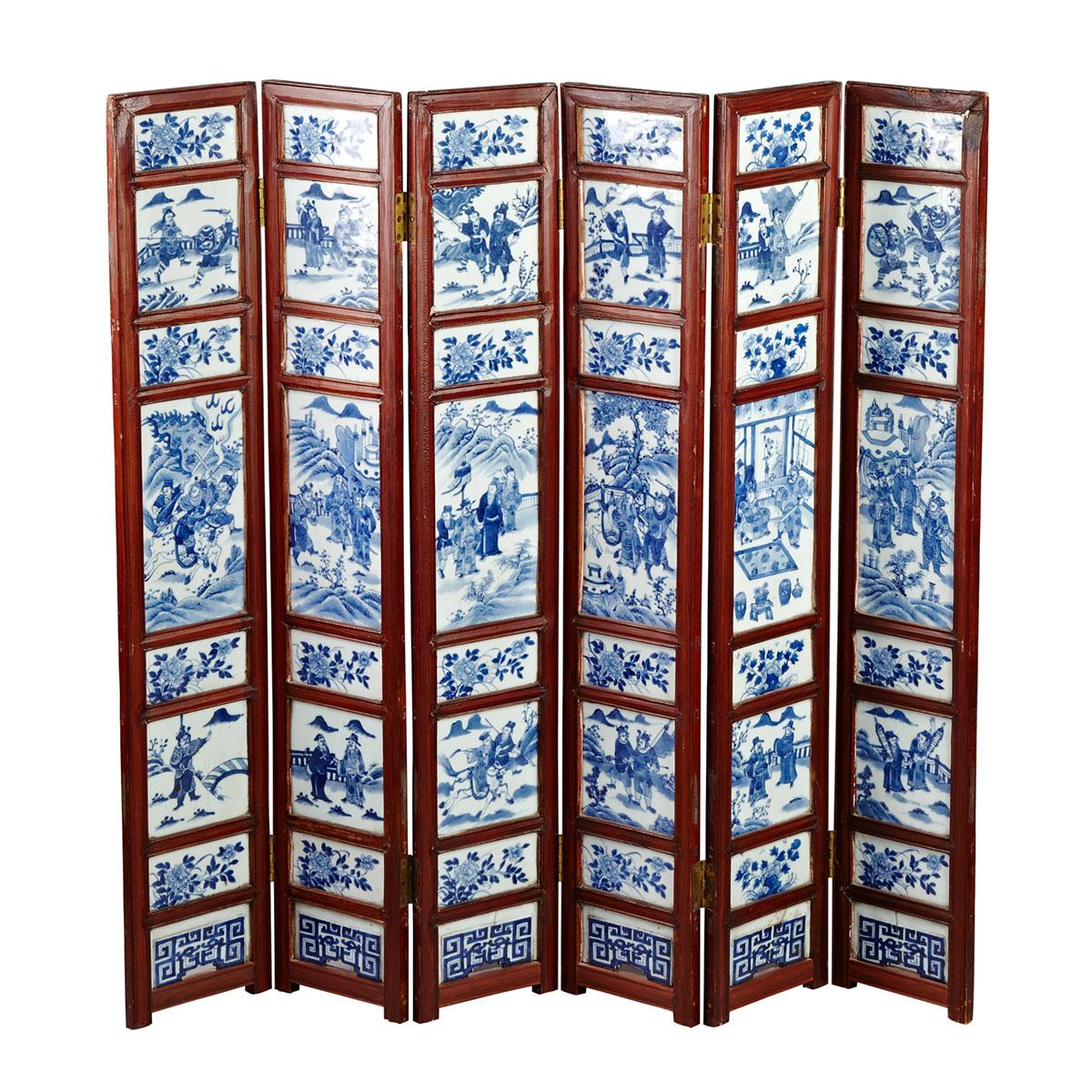 Six Panel Blue and White Porcelain Inlay Table Screen, 19th Century