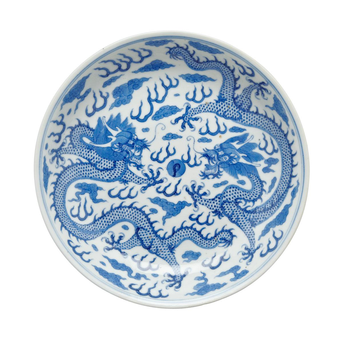 Blue and White Dragon Dish, Guangxu Mark and Period (1875-1908)